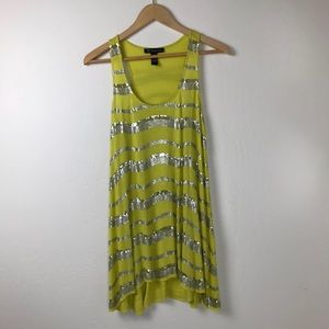 INC International Concepts Tops - INC Lime Green and Silver Sequined Tank Tunic